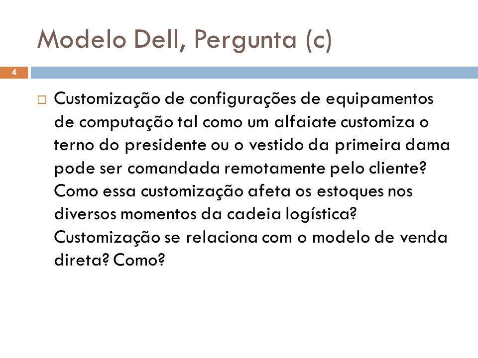 Modelo Dell, Pergunta (c) 4 Customização de configurações de equipamentos de computação tal como um alfaiate customiza o terno do presidente ou o vest