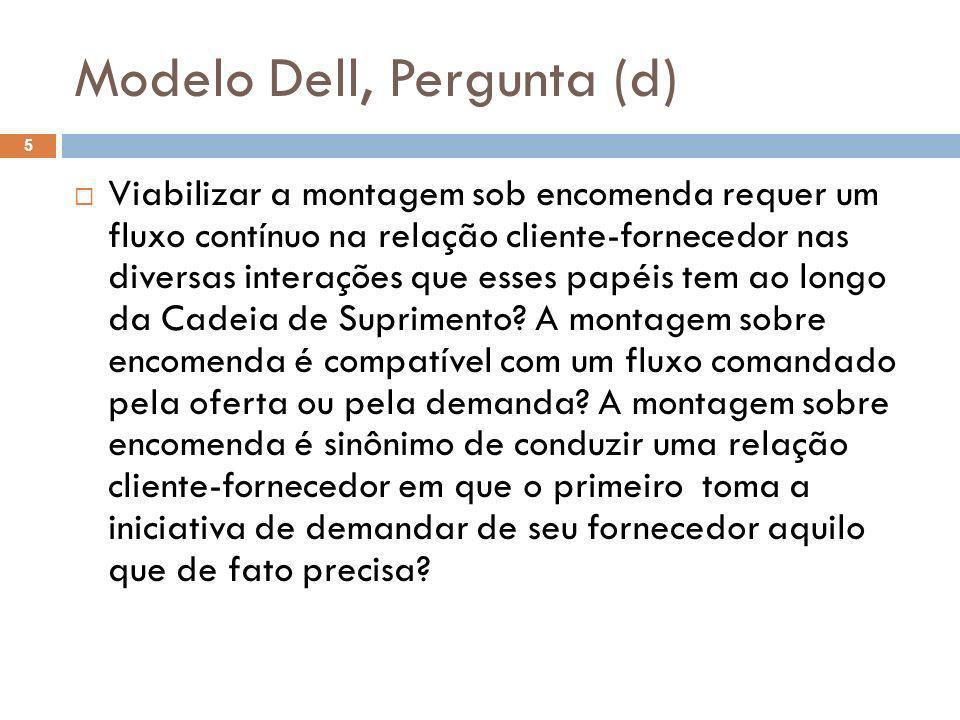 Modelo Dell, Pergunta (d) 5 Viabilizar a montagem sob encomenda requer um fluxo contínuo na relação cliente-fornecedor nas diversas interações que ess