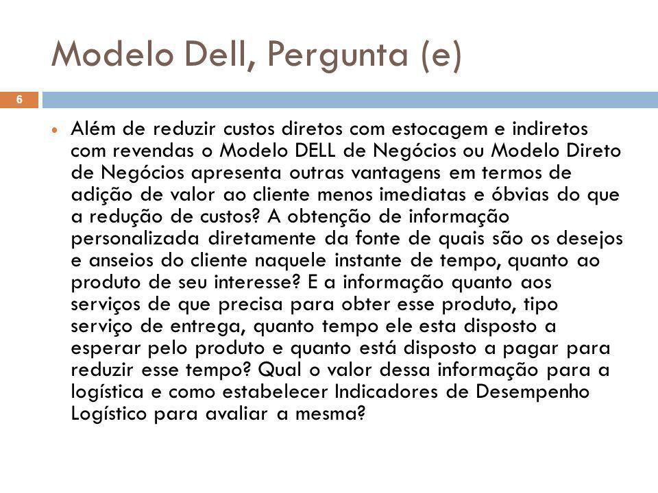 Modelo Dell, Pergunta (e) 6 Além de reduzir custos diretos com estocagem e indiretos com revendas o Modelo DELL de Negócios ou Modelo Direto de Negóci