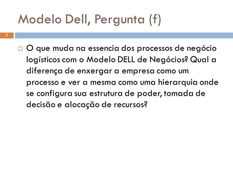 Modelo Dell, Pergunta (f) 7 O que muda na essencia dos processos de negócio logísticos com o Modelo DELL de Negócios? Qual a diferença de enxergar a e