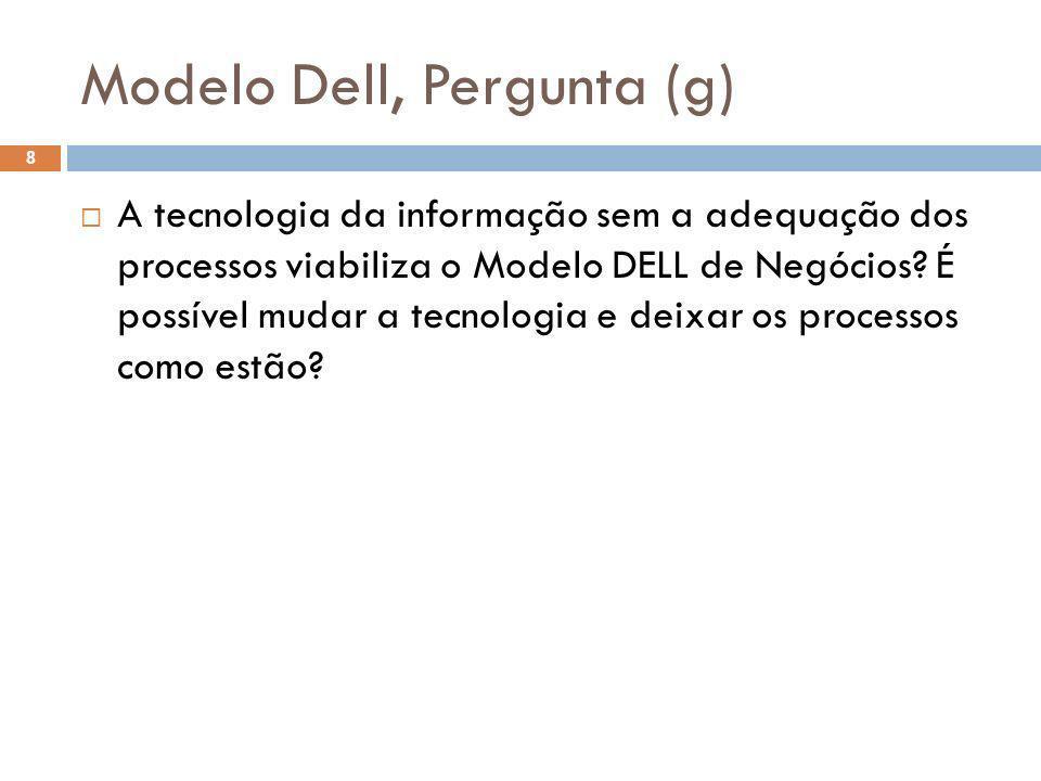 Modelo Dell, Pergunta (g) 8 A tecnologia da informação sem a adequação dos processos viabiliza o Modelo DELL de Negócios? É possível mudar a tecnologi