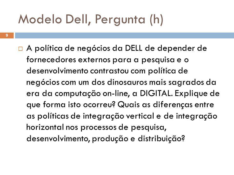 Modelo Dell, Pergunta (h) 9 A política de negócios da DELL de depender de fornecedores externos para a pesquisa e o desenvolvimento contrastou com pol