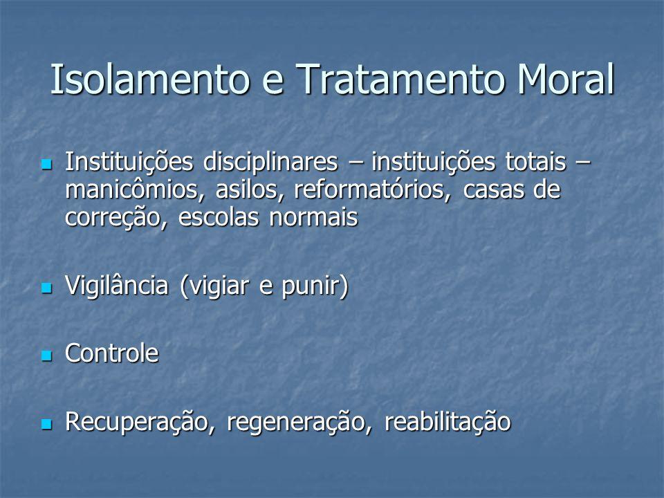 Isolamento e Tratamento Moral Instituições disciplinares – instituições totais – manicômios, asilos, reformatórios, casas de correção, escolas normais
