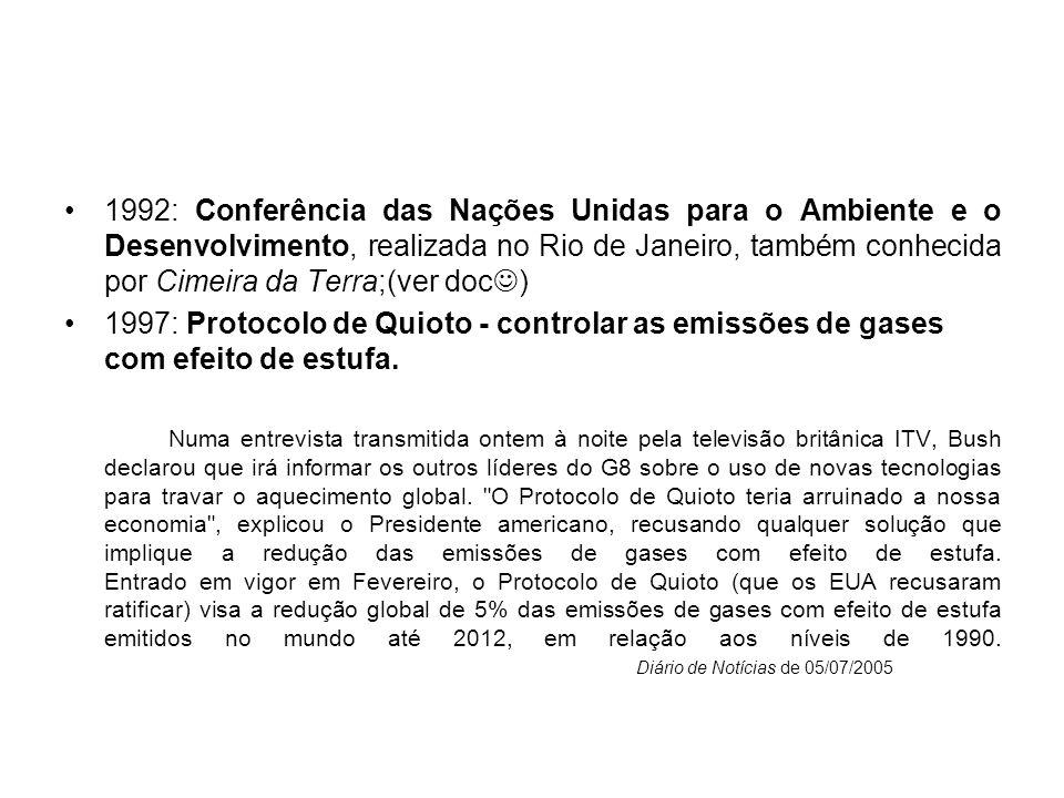 1992: Conferência das Nações Unidas para o Ambiente e o Desenvolvimento, realizada no Rio de Janeiro, também conhecida por Cimeira da Terra;(ver doc )