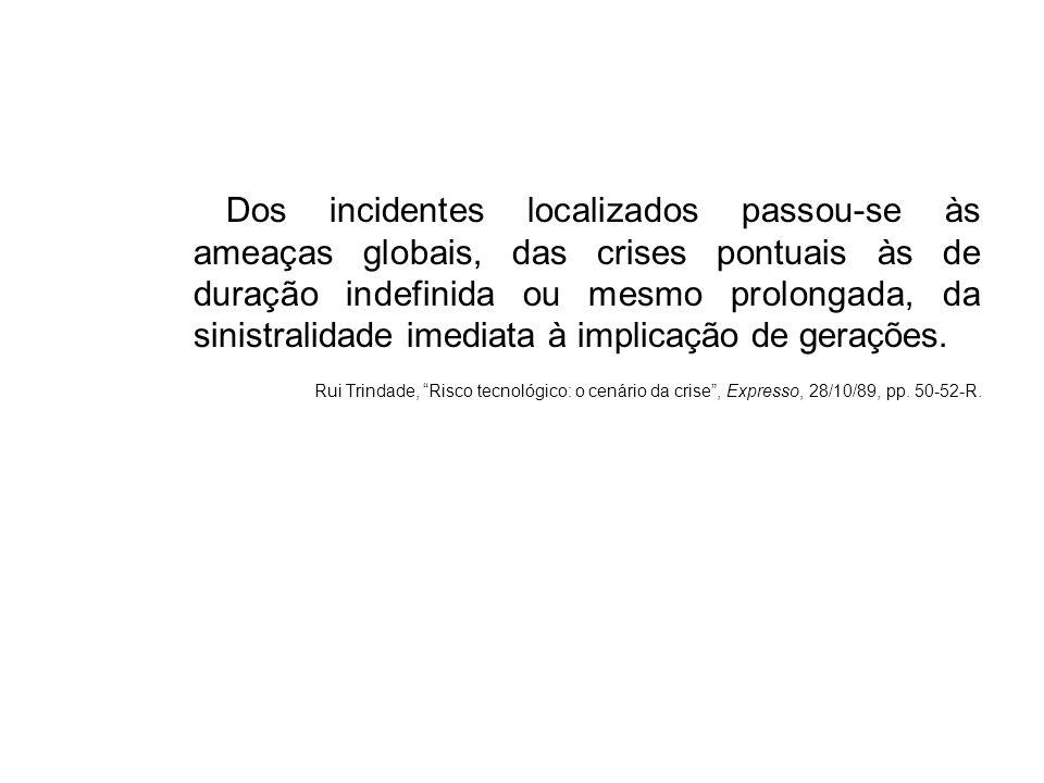 Dos incidentes localizados passou-se às ameaças globais, das crises pontuais às de duração indefinida ou mesmo prolongada, da sinistralidade imediata