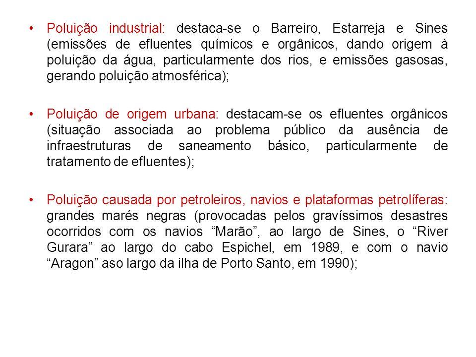 Poluição industrial: destaca-se o Barreiro, Estarreja e Sines (emissões de efluentes químicos e orgânicos, dando origem à poluição da água, particular