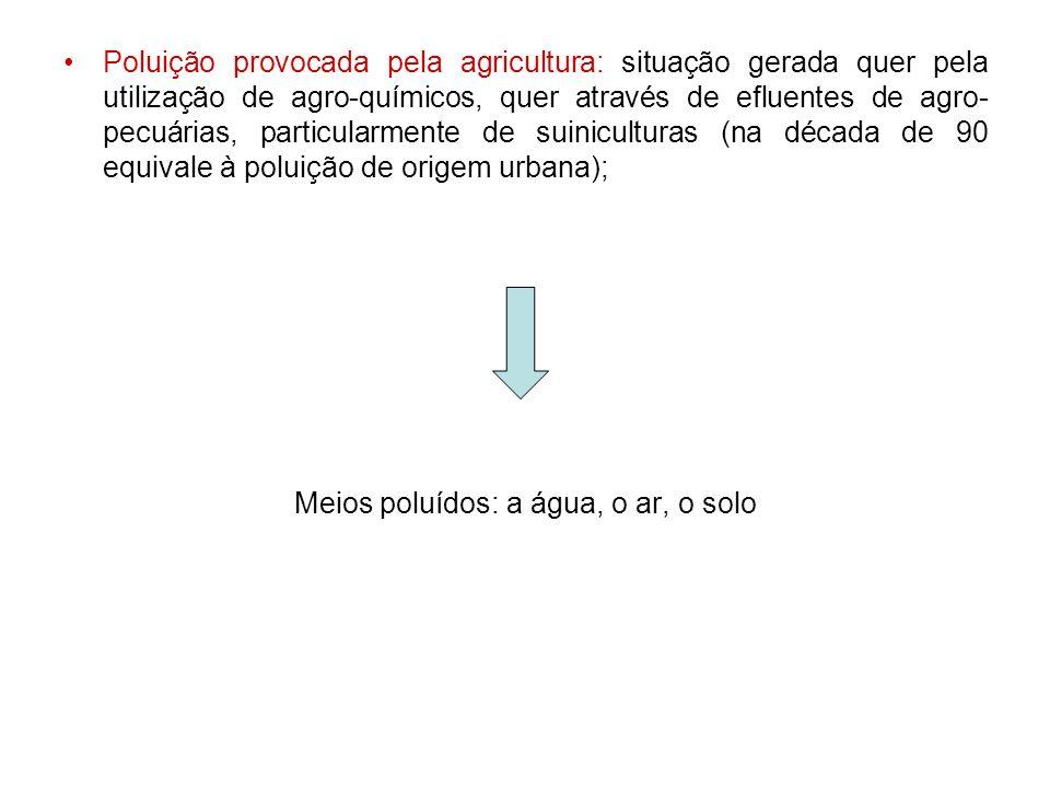 Poluição provocada pela agricultura: situação gerada quer pela utilização de agro-químicos, quer através de efluentes de agro- pecuárias, particularme