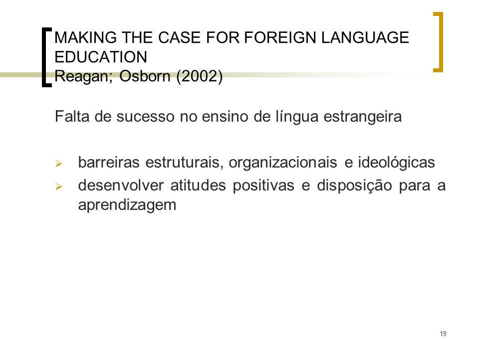19 MAKING THE CASE FOR FOREIGN LANGUAGE EDUCATION Reagan; Osborn (2002) Falta de sucesso no ensino de língua estrangeira barreiras estruturais, organi