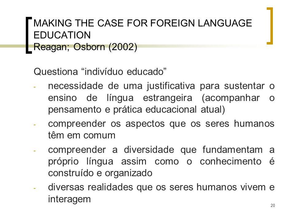20 MAKING THE CASE FOR FOREIGN LANGUAGE EDUCATION Reagan; Osborn (2002) Questiona indivíduo educado - necessidade de uma justificativa para sustentar