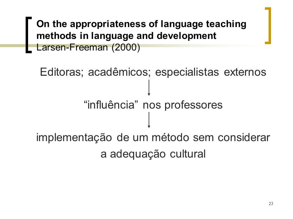 23 Editoras; acadêmicos; especialistas externos influência nos professores implementação de um método sem considerar a adequação cultural On the appro