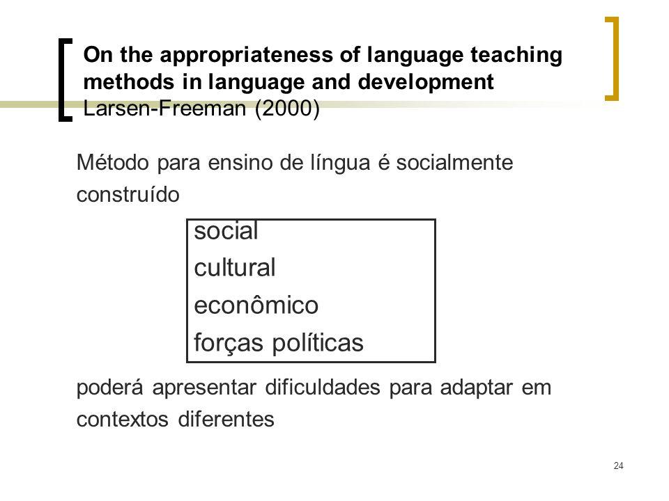 24 Método para ensino de língua é socialmente construído poderá apresentar dificuldades para adaptar em contextos diferentes On the appropriateness of