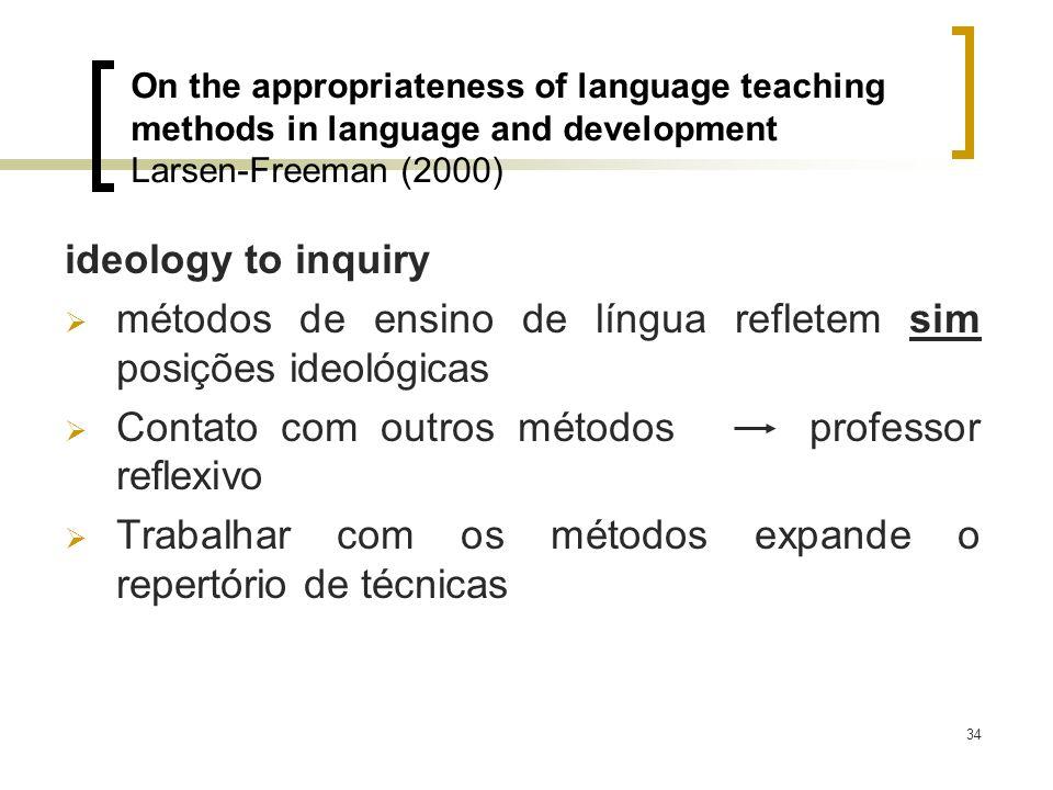 34 ideology to inquiry métodos de ensino de língua refletem sim posições ideológicas Contato com outros métodos professor reflexivo Trabalhar com os m
