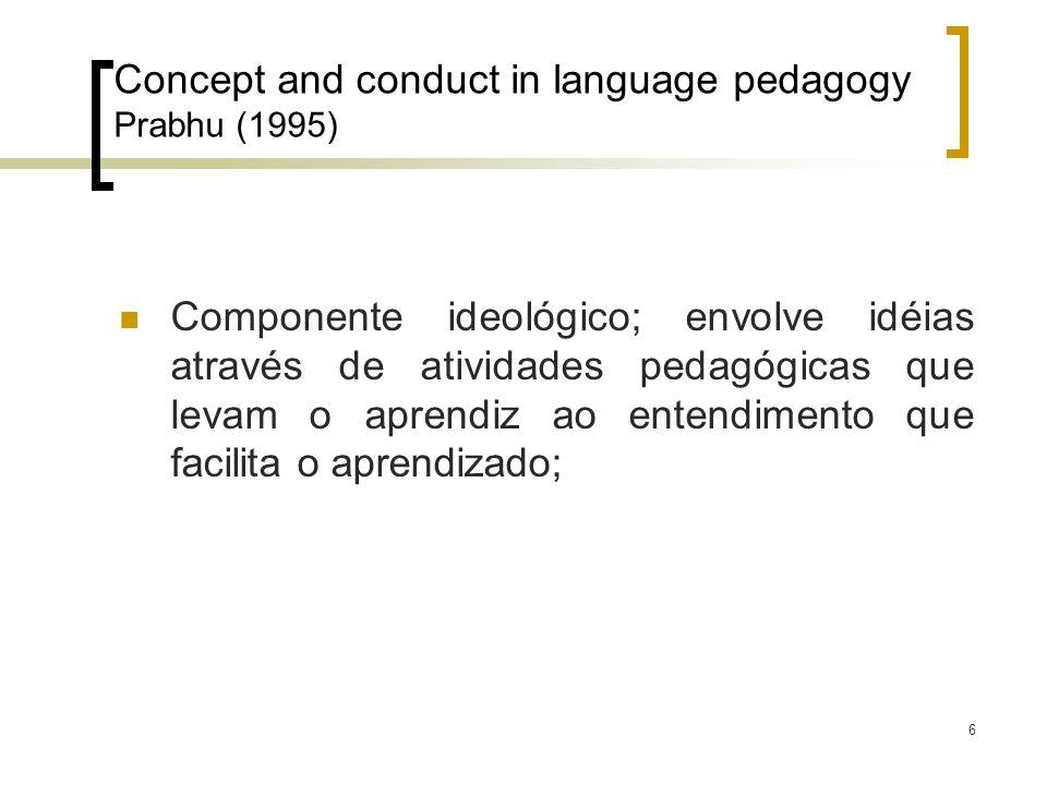 6 Concept and conduct in language pedagogy Prabhu (1995) Componente ideológico; envolve idéias através de atividades pedagógicas que levam o aprendiz