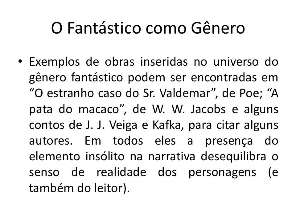 O Fantástico como Gênero Exemplos de obras inseridas no universo do gênero fantástico podem ser encontradas em O estranho caso do Sr. Valdemar, de Poe
