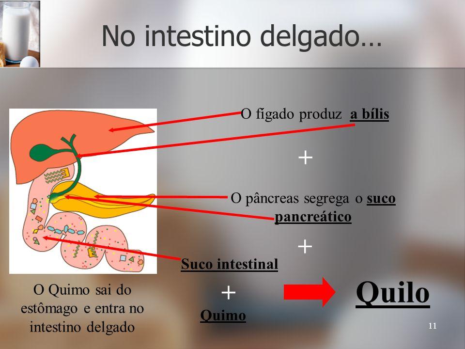 11 No intestino delgado… O Quimo sai do estômago e entra no intestino delgado O fígado produz a bílis O pâncreas segrega o suco pancreático + + Suco i