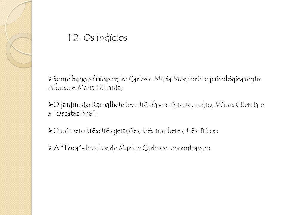 Depois das revelações de Guimarães a Ega e de Ega a Carlos originou-se todo o fim trágico da obra: A catástrofe – morte das personagens física, de Afonso amorosa, de Carlos e Maria psicológica, de Carlos social, da família 2.
