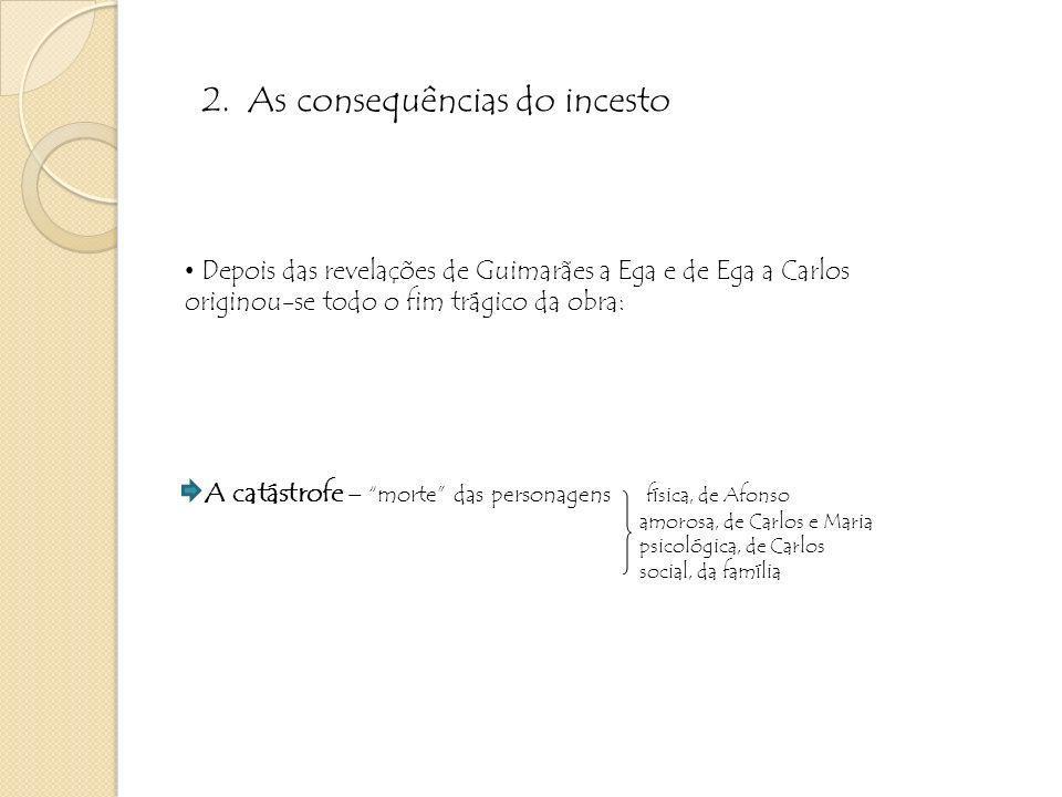 Depois das revelações de Guimarães a Ega e de Ega a Carlos originou-se todo o fim trágico da obra: A catástrofe – morte das personagens física, de Afo
