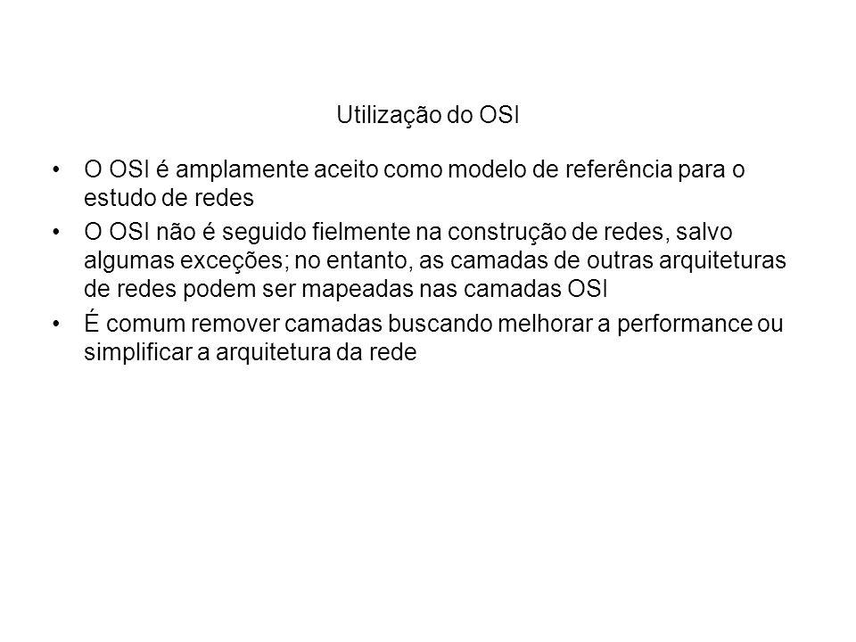 Utilização do OSI O OSI é amplamente aceito como modelo de referência para o estudo de redes O OSI não é seguido fielmente na construção de redes, sal