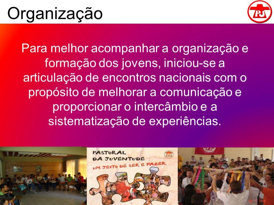 Organização Para melhor acompanhar a organização e formação dos jovens, iniciou-se a articulação de encontros nacionais com o propósito de melhorar a