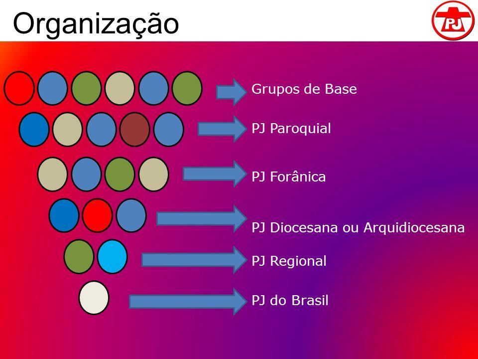 Organização Grupos de Base PJ Paroquial PJ Forânica PJ Diocesana ou Arquidiocesana PJ Regional PJ do Brasil