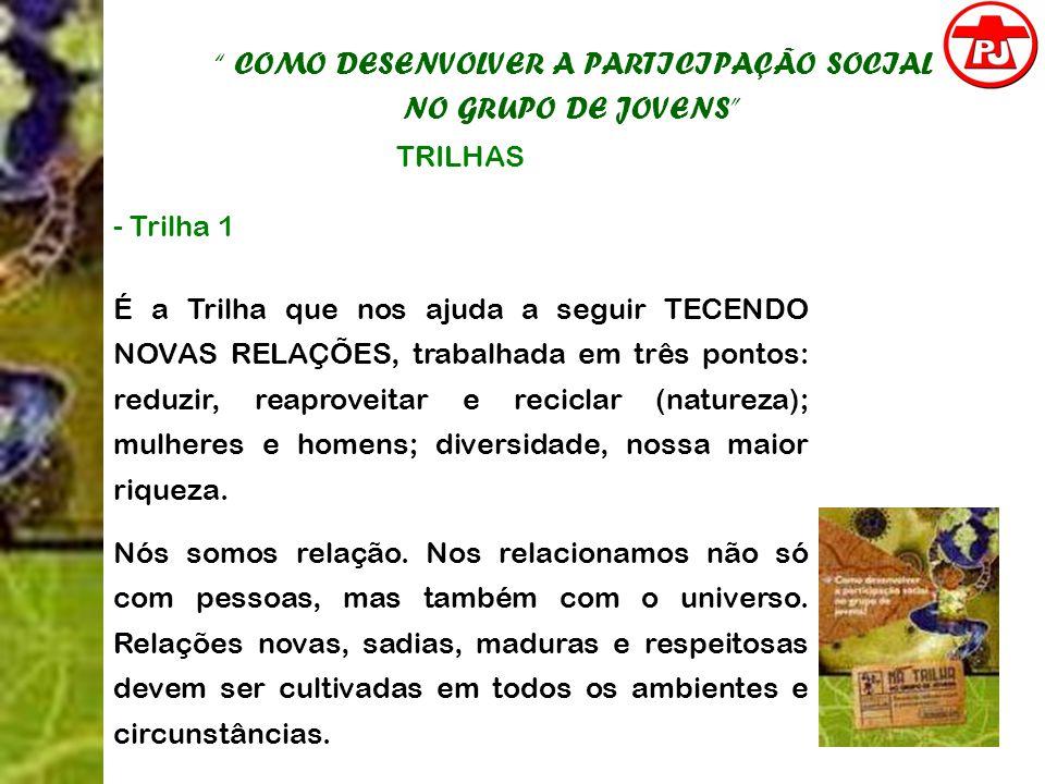 COMO DESENVOLVER A PARTICIPAÇÃO SOCIAL NO GRUPO DE JOVENS TRILHAS - Trilha 1 É a Trilha que nos ajuda a seguir TECENDO NOVAS RELAÇÕES, trabalhada em t