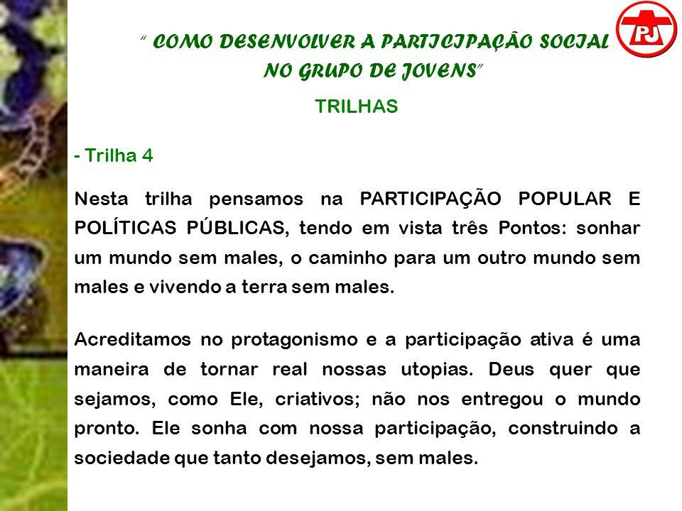 COMO DESENVOLVER A PARTICIPAÇÃO SOCIAL NO GRUPO DE JOVENS TRILHAS - Trilha 4 Nesta trilha pensamos na PARTICIPAÇÃO POPULAR E POLÍTICAS PÚBLICAS, tendo
