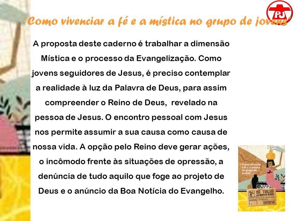 Como vivenciar a fé e a mística no grupo de jovens A proposta deste caderno é trabalhar a dimensão Mística e o processo da Evangelização. Como jovens