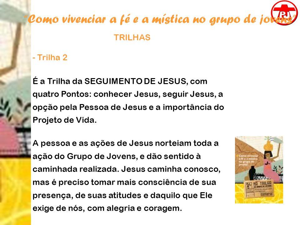 Como vivenciar a fé e a mística no grupo de jovens TRILHAS - Trilha 2 É a Trilha da SEGUIMENTO DE JESUS, com quatro Pontos: conhecer Jesus, seguir Jes