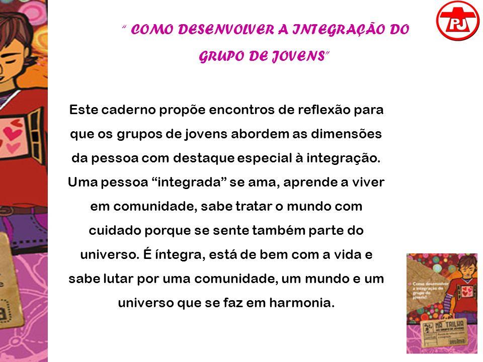 COMO DESENVOLVER A INTEGRAÇÃO DO GRUPO DE JOVENS Este caderno propõe encontros de reflexão para que os grupos de jovens abordem as dimensões da pessoa