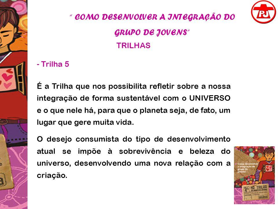COMO DESENVOLVER A INTEGRAÇÃO DO GRUPO DE JOVENS TRILHAS - Trilha 5 É a Trilha que nos possibilita refletir sobre a nossa integração de forma sustentá