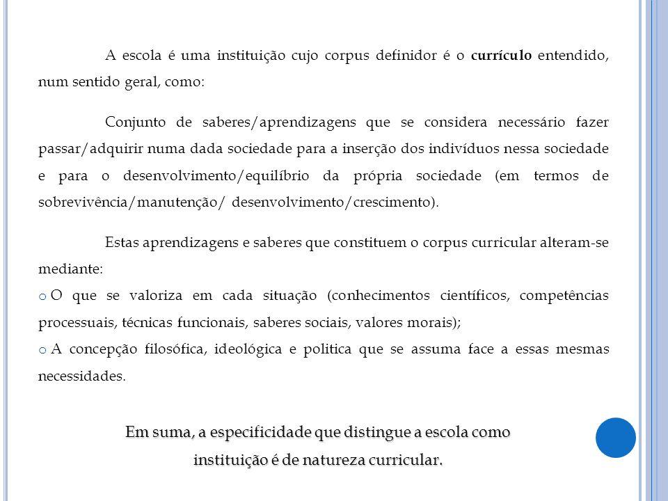 A escola é uma instituição cujo corpus definidor é o currículo entendido, num sentido geral, como: Conjunto de saberes/aprendizagens que se considera
