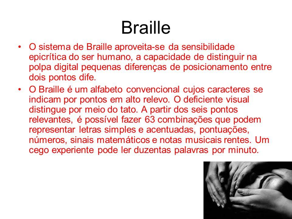 Braille O sistema de Braille aproveita-se da sensibilidade epicrítica do ser humano, a capacidade de distinguir na polpa digital pequenas diferenças d