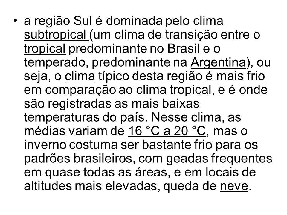 a região Sul é dominada pelo clima subtropical (um clima de transição entre o tropical predominante no Brasil e o temperado, predominante na Argentina