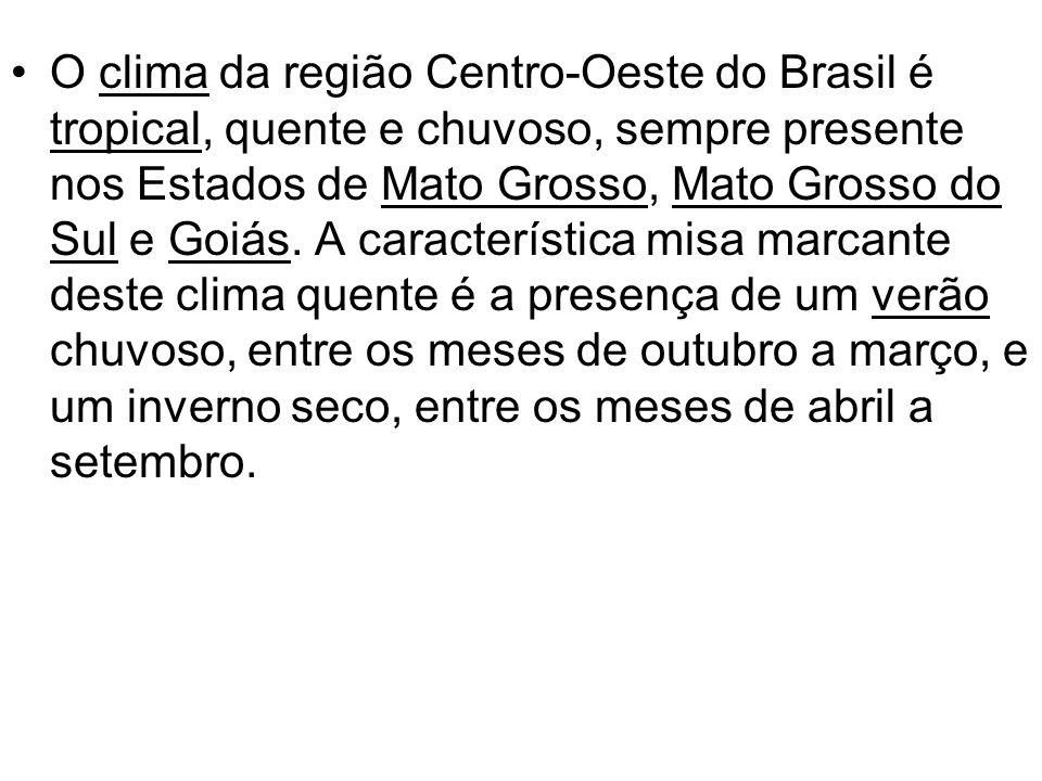 O clima da região Centro-Oeste do Brasil é tropical, quente e chuvoso, sempre presente nos Estados de Mato Grosso, Mato Grosso do Sul e Goiás. A carac