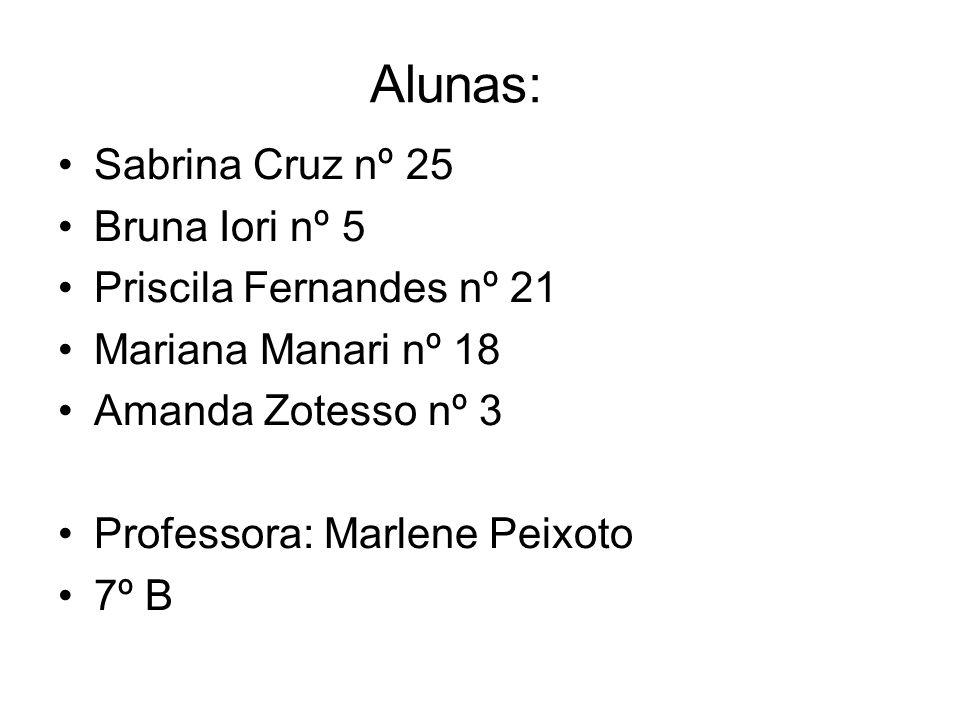 Alunas: Sabrina Cruz nº 25 Bruna Iori nº 5 Priscila Fernandes nº 21 Mariana Manari nº 18 Amanda Zotesso nº 3 Professora: Marlene Peixoto 7º B