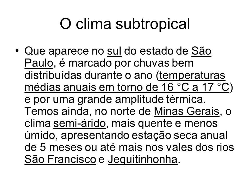 O clima subtropical Que aparece no sul do estado de São Paulo, é marcado por chuvas bem distribuídas durante o ano (temperaturas médias anuais em torn