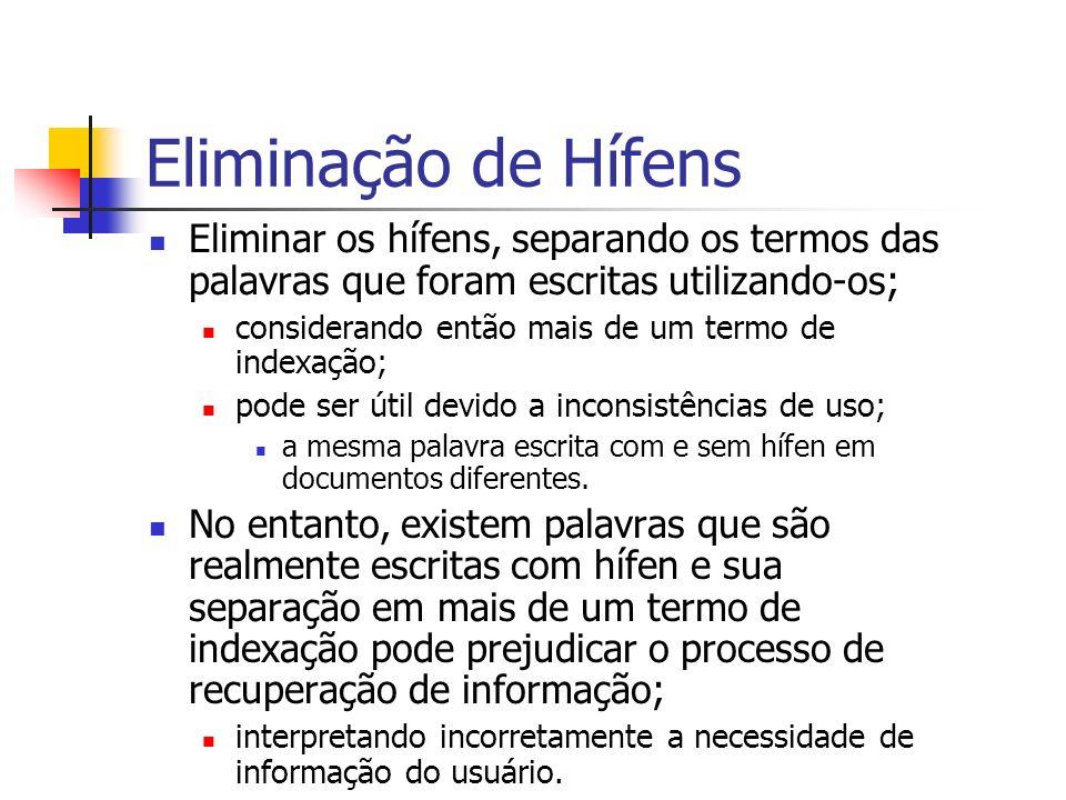 Eliminação de Hífens Eliminar os hífens, separando os termos das palavras que foram escritas utilizando-os; considerando então mais de um termo de ind