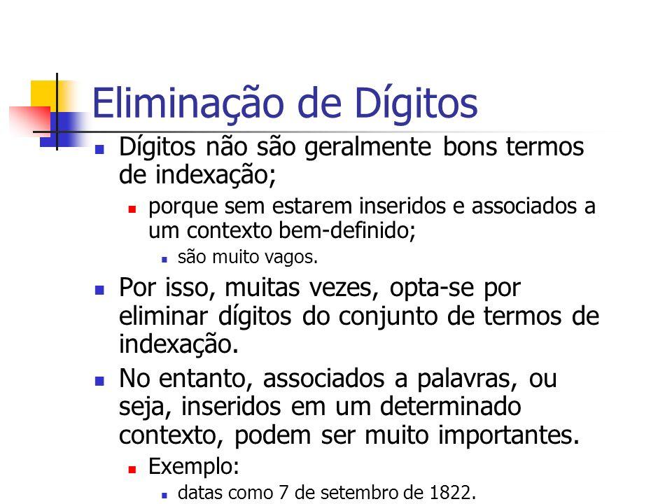 Eliminação de Dígitos Dígitos não são geralmente bons termos de indexação; porque sem estarem inseridos e associados a um contexto bem-definido; são m