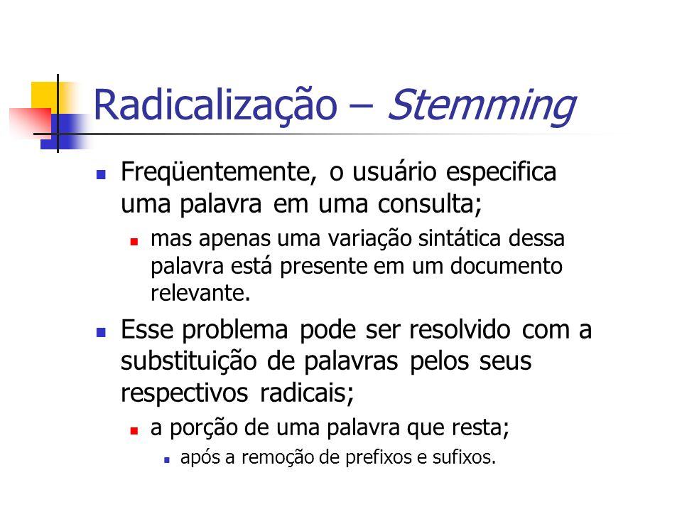 Radicalização – Stemming Freqüentemente, o usuário especifica uma palavra em uma consulta; mas apenas uma variação sintática dessa palavra está presen
