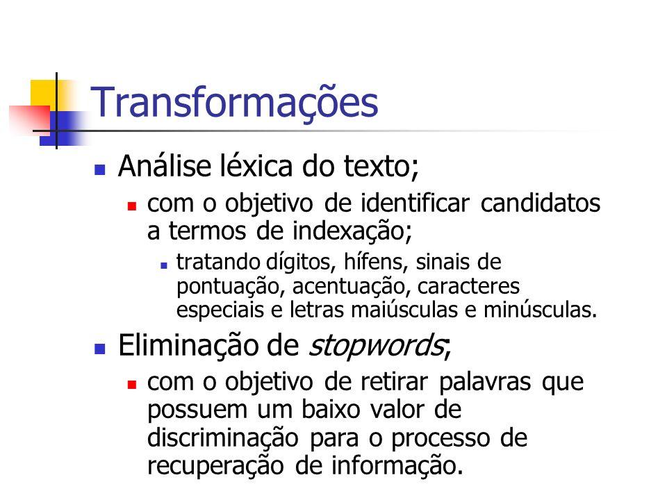 Transformações Análise léxica do texto; com o objetivo de identificar candidatos a termos de indexação; tratando dígitos, hífens, sinais de pontuação,