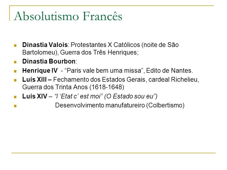 Absolutismo Francês Dinastia Valois: Protestantes X Católicos (noite de São Bartolomeu), Guerra dos Três Henriques; Dinastia Bourbon: Henrique IV - Pa