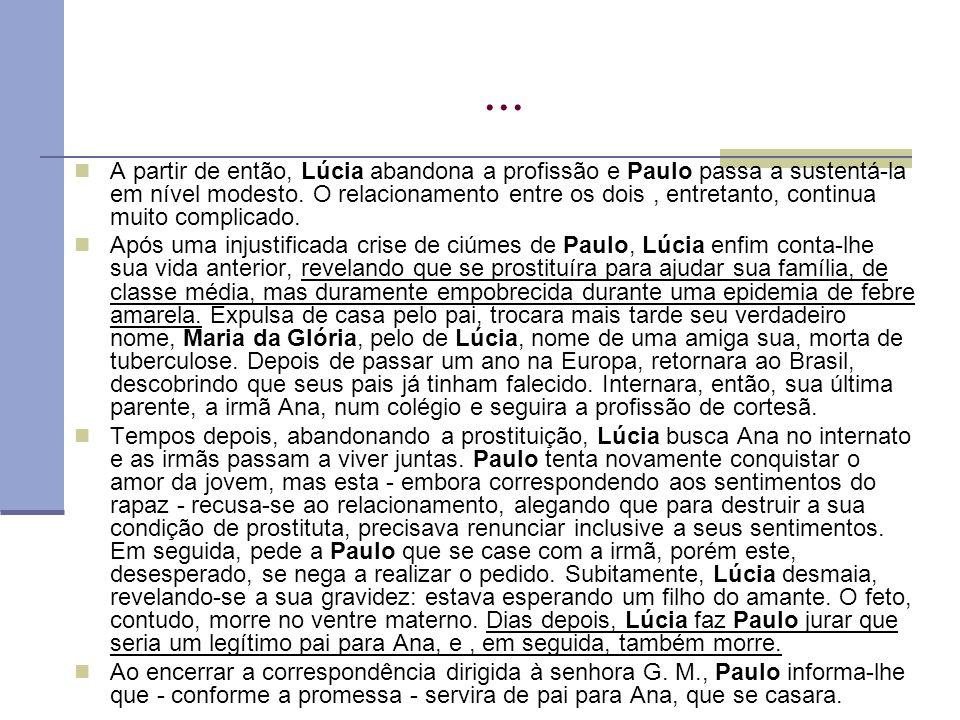 ... A partir de então, Lúcia abandona a profissão e Paulo passa a sustentá-la em nível modesto. O relacionamento entre os dois, entretanto, continua m
