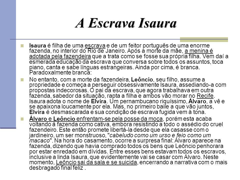 A Escrava Isaura Isaura é filha de uma escrava e de um feitor português de uma enorme fazenda, no interior do Rio de Janeiro. Após a morte da mãe, a m