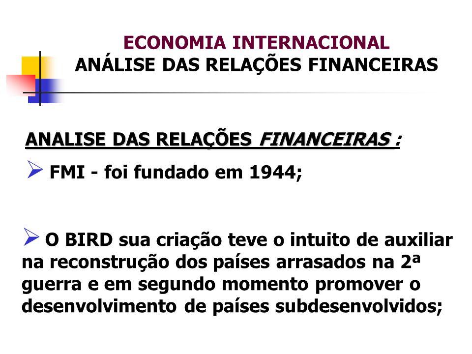 ECONOMIA INTERNACIONAL ANÁLISE DAS RELAÇÕES FINANCEIRAS ANALISE DAS RELAÇÕES FINANCEIRAS ANALISE DAS RELAÇÕES FINANCEIRAS : FMI - foi fundado em 1944;