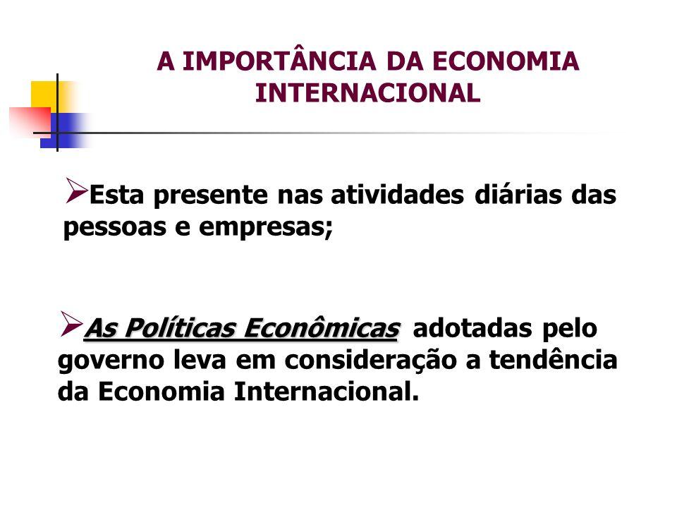 A IMPORTÂNCIA DA ECONOMIA INTERNACIONAL Esta presente nas atividades diárias das pessoas e empresas; As Políticas Econômicas As Políticas Econômicas a