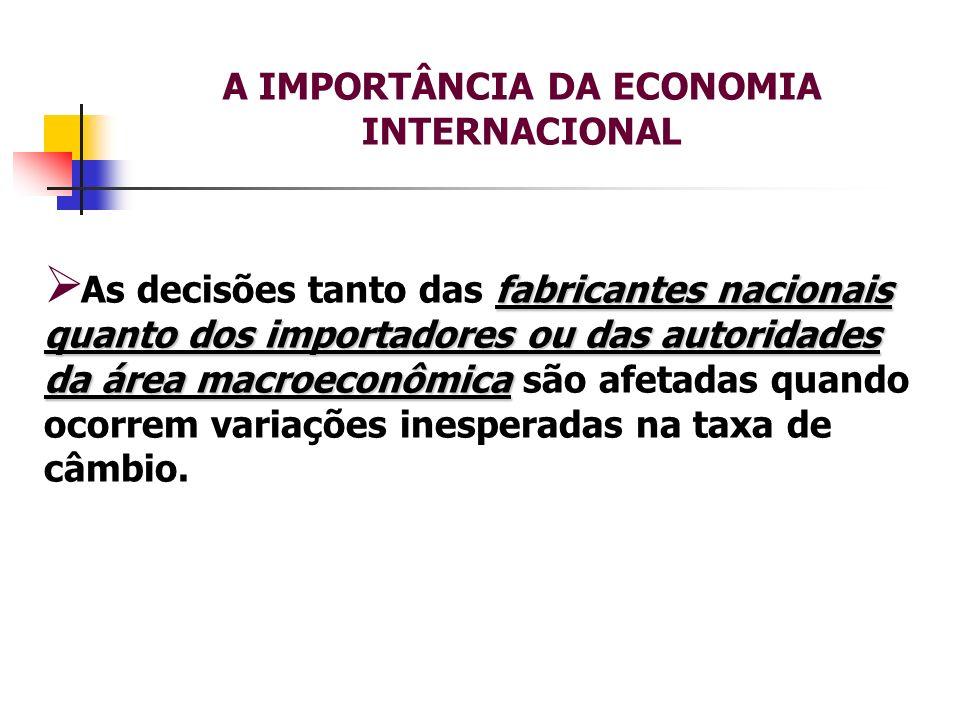 A IMPORTÂNCIA DA ECONOMIA INTERNACIONAL fabricantes nacionais quanto dos importadores ou das autoridades da área macroeconômica As decisões tanto das
