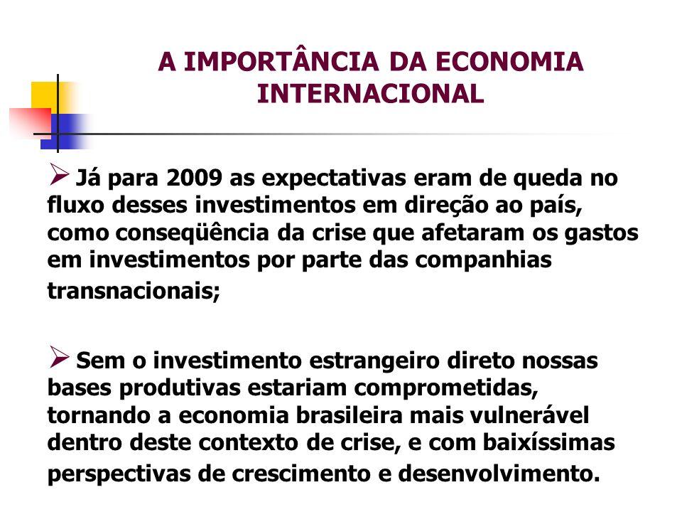 A IMPORTÂNCIA DA ECONOMIA INTERNACIONAL Já para 2009 as expectativas eram de queda no fluxo desses investimentos em direção ao país, como conseqüência