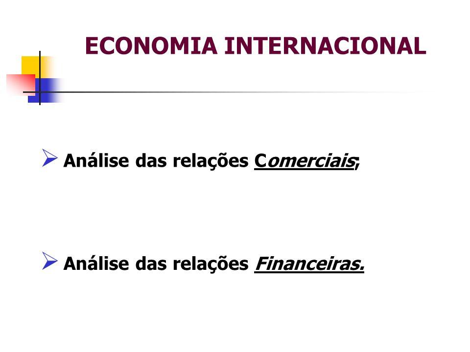 ECONOMIA INTERNACIONAL Análise das relações Comerciais; Análise das relações Financeiras.
