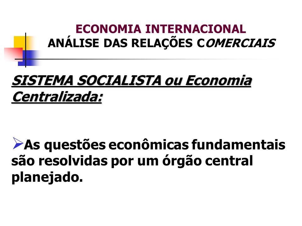 ECONOMIA INTERNACIONAL ANÁLISE DAS RELAÇÕES COMERCIAIS SISTEMA SOCIALISTA ou Economia Centralizada: As questões econômicas fundamentais são resolvidas