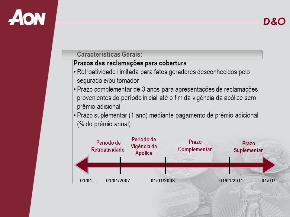 D&OD&O Características Gerais: Prazos das reclamações para cobertura Retroatividade ilimitada para fatos geradores desconhecidos pelo segurado e/ou to